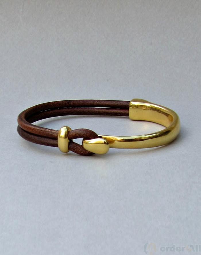 Unisex Βραχιολι χρυσό με δέρμα  6d3a6e1fced