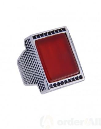 Ανδρικο Δαχτυλίδι με Κόκκινη & Μαύρη Πετρα σε Μασιφ Ασήμι 925⁰