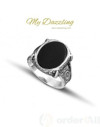 Ασημένιο αντρικό δαχτυλίδι με οβάλ όνυχα Mydazzling, Order4all