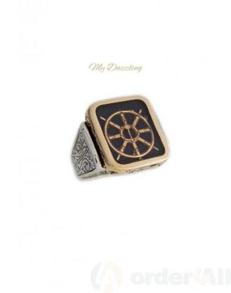 Ασημένιο αντρικό δαχτυλίδι με ναυτικό τιμόνι Mydazzling, Order4all