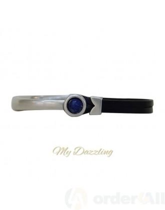 Δερμάτινο ανδρικό βραχιόλι μπλε πέτρα | Order4all, Mydazzling