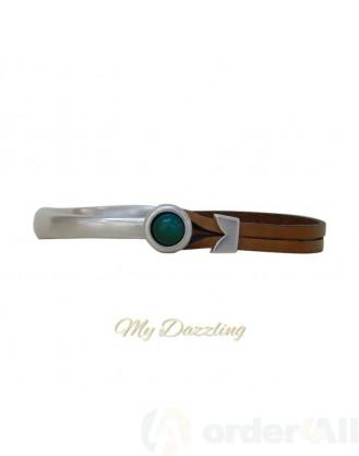 Δερμάτινο ανδρικό βραχιόλι πράσινη πέτρα | Order4all, Mydazzling