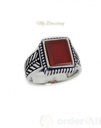 Ανδρικό δαχτυλίδι με κορνεόλη : dz-14780 | Order4all, Mydazzling