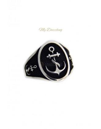 Ασημένιο δαχτυλίδι με οβάλ άγκυρα  : dz-14658 Mydazzling
